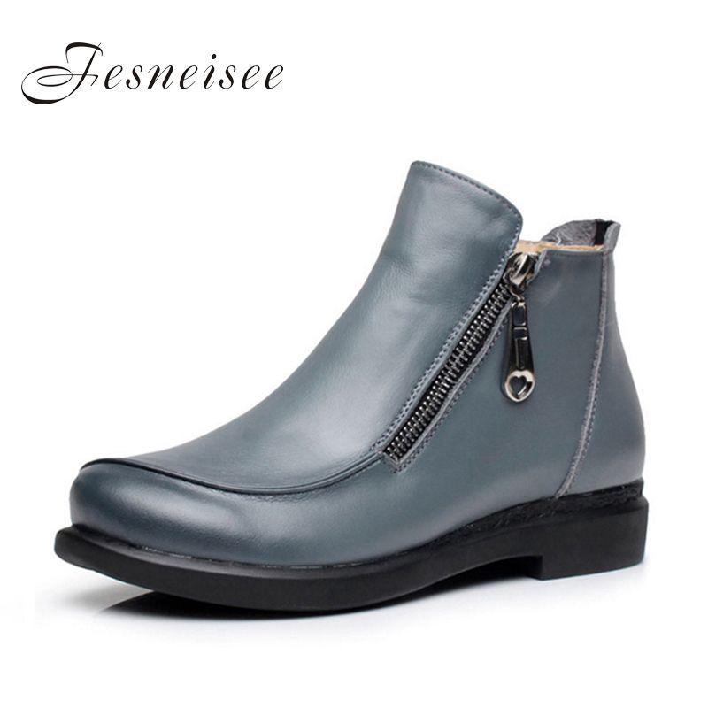 2017 Nuevo Otoño Invierno de la señora Corta Talones Planos Zapatos de Cuero Genuino botas de Cremallera Lateral Botas de Tobillo de Mujer Más El Tamaño 41-43 para femal