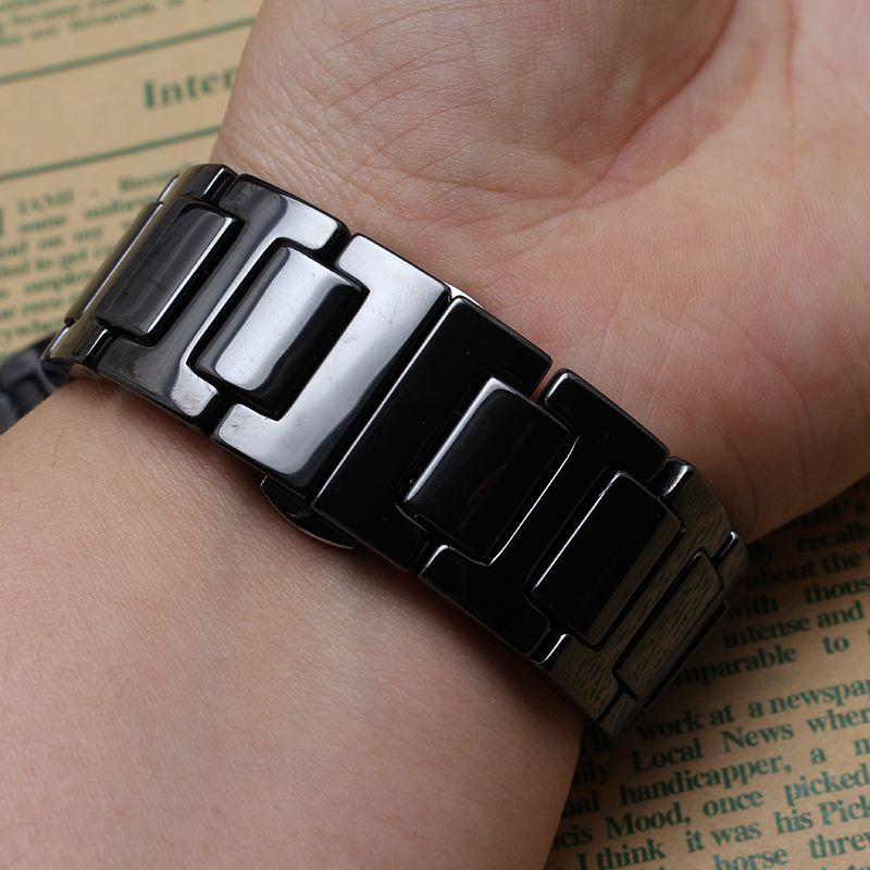 Nouveau Top qualité Noir En Céramique watcbands sangle Ceinture bracelet bande femmes hommes 20mm 22mm en céramique montre bande Fit Samsung Vitesse S2 S3