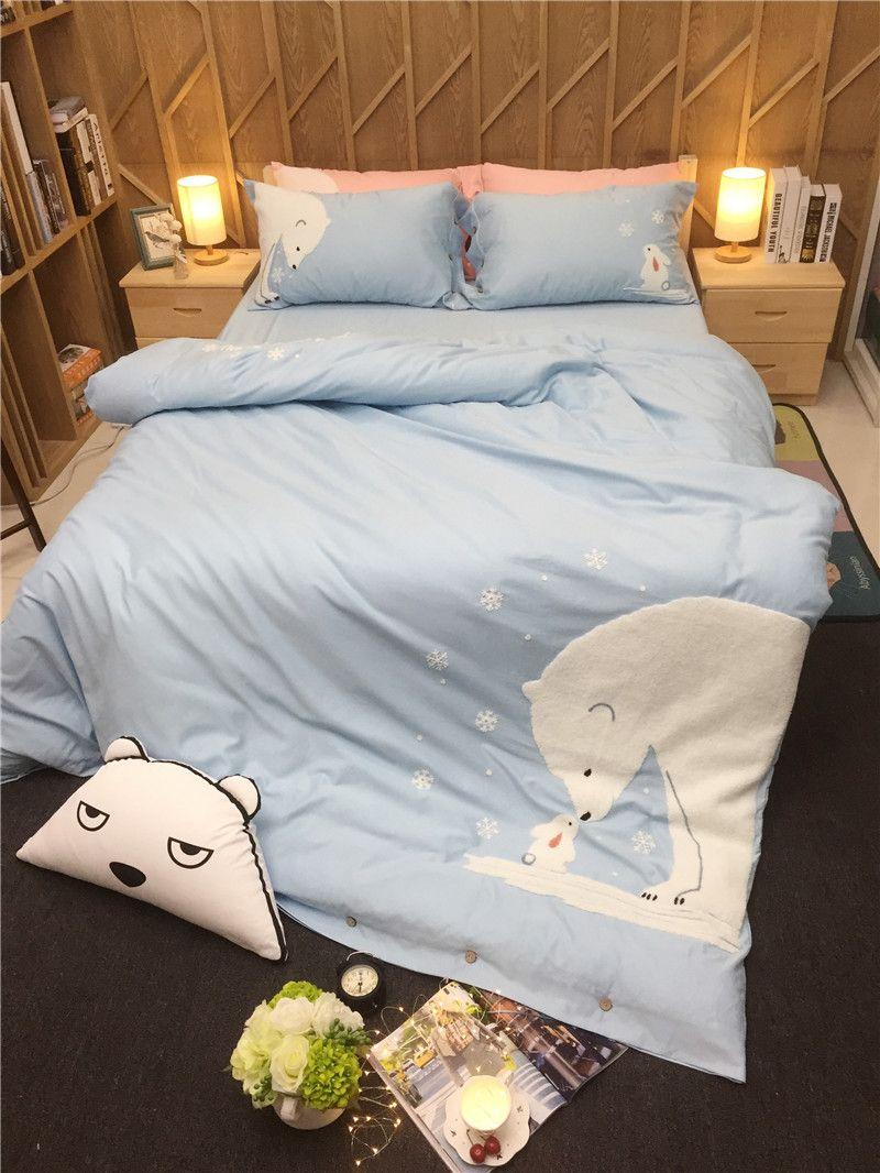 Adults/kids/girls cartoon bear bedding set king queen twin size bed linen set pink blue 100% cotton duvet cover bedclothes