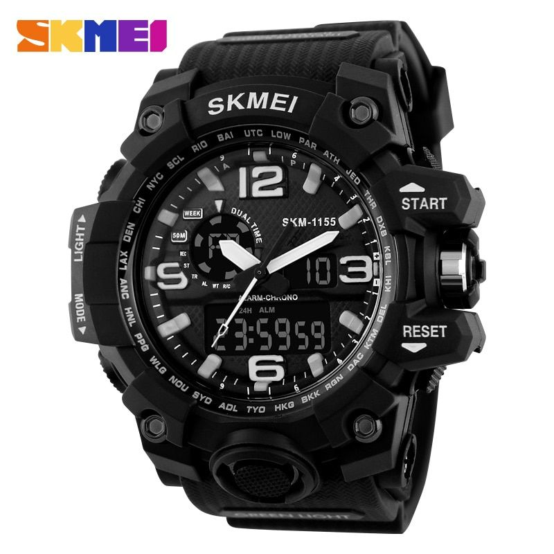 SKMEI Large Dial Shock Outdoor Sports Watches Men Digital LED 50M Waterproof <font><b>Military</b></font> Army Watch Alarm Chrono Wristwatches 1155