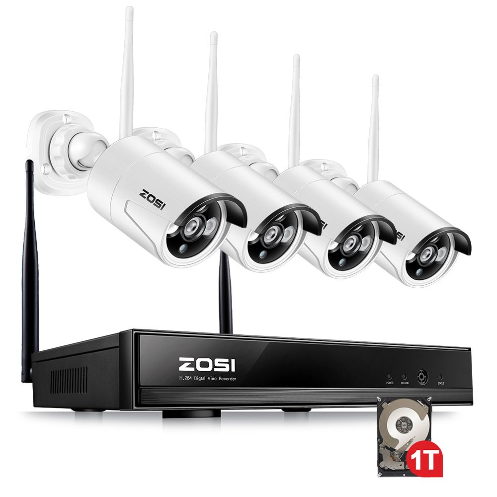 ZOSI 4CH CCTV System 1080P NVR 4PCS 1.3 MP IR Outdoor P2P Wireless Wifi IP CCTV Camera Security System Surveillance Kit 1TB HDD
