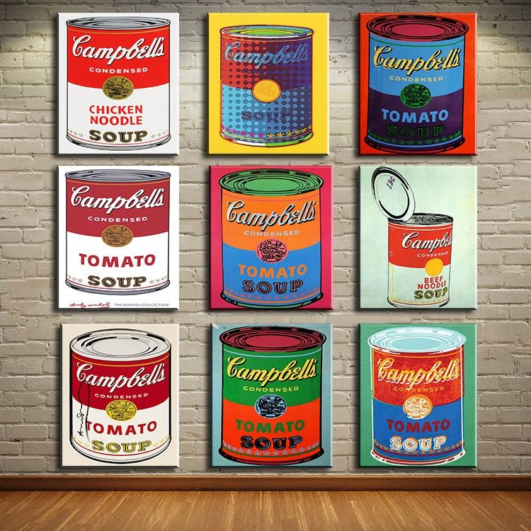 study 9 PCS set campbell-s-soup-can-beef oil painting Prints Painting on canvas No frame Pictures Decor For Living Room