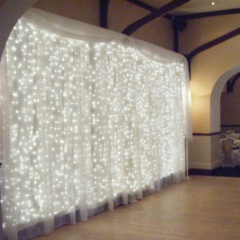 1 и 4.5 м x 3 м 300 светодиодов ЕС Plug 220 В фея светодиодной строки для новогодней вечеринки гирлянды занавес Свадебные украшения гирляндой