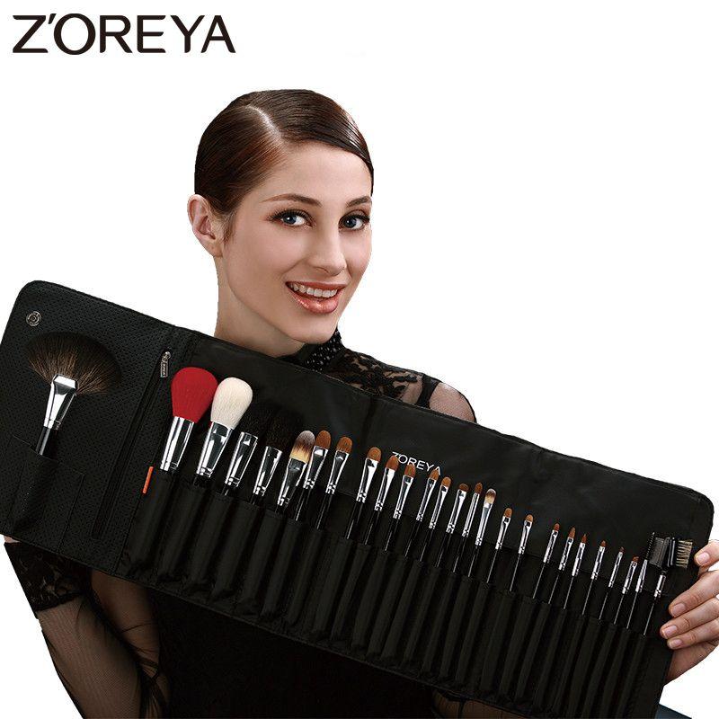ZOREYA Marke 26 Stücke Luxus Natürliche Ziegenhaar Fan Make-Up pinsel Professionelle Kosmetik pinsel-set Schönheit Lidschatten Pinsel