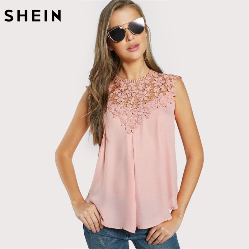 SHEIN Ladies Keyhole Back Daisy Lace Shoulder Shell Top Women Blouses Summer <font><b>2017</b></font> Pink Round Neck Sleeveless Blouse