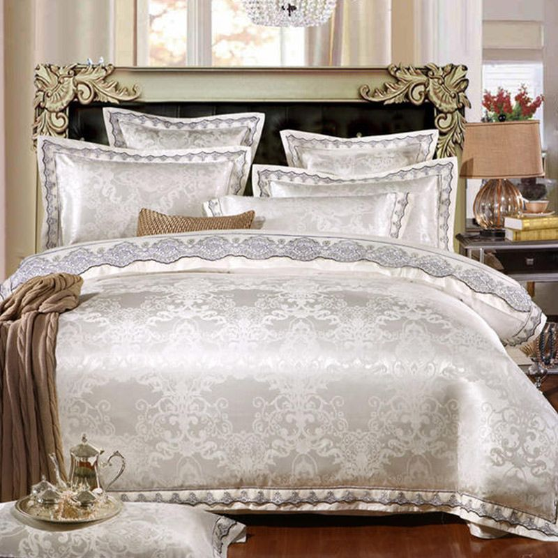 Egyptian cotton 4/6pcs Jacquard Silk Cotton Luxury Bedding Set King Size Queen Bed Set Lace Duvet Cover Bed Sheet Pillowcase