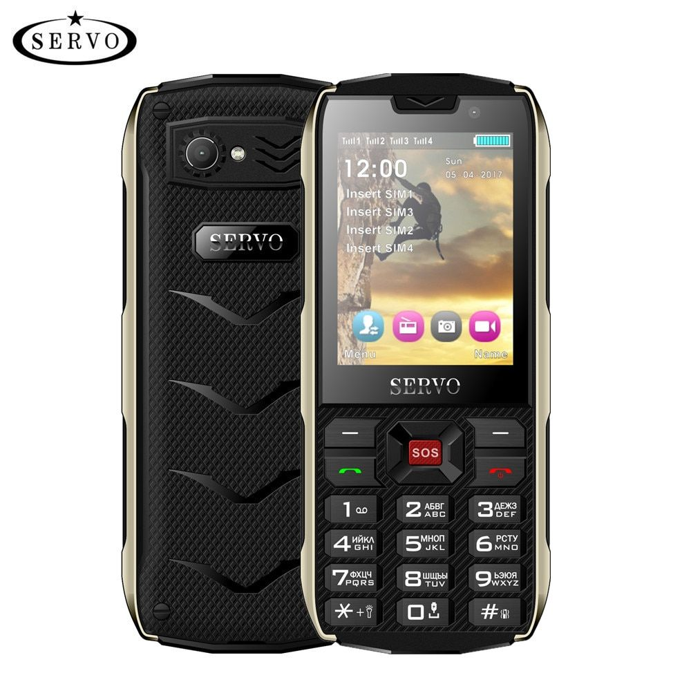 SERVO H8 Mobile Phone 2.8inch 4 SIM card 4 standby Bluetooth <font><b>Flashlight</b></font> GPRS 3000mAh Power Bank Phone Russian Language keyboard