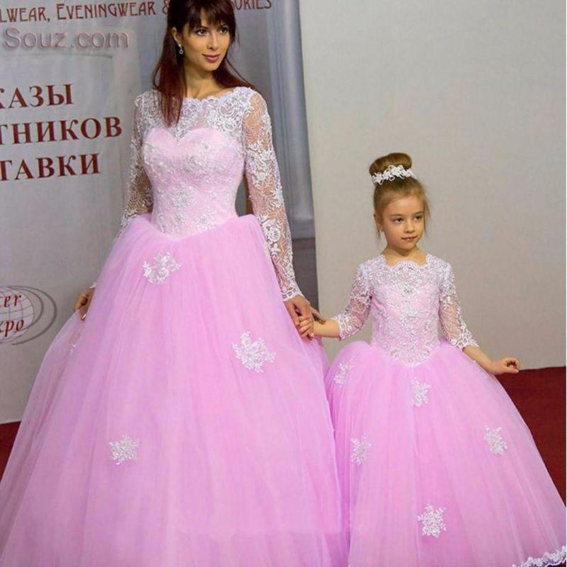 Новинка 2017 года розовый Line Тюль Мать и дочь платья для Причастия платье с длинным рукавом с аппликациями Формальные Вечерние платья