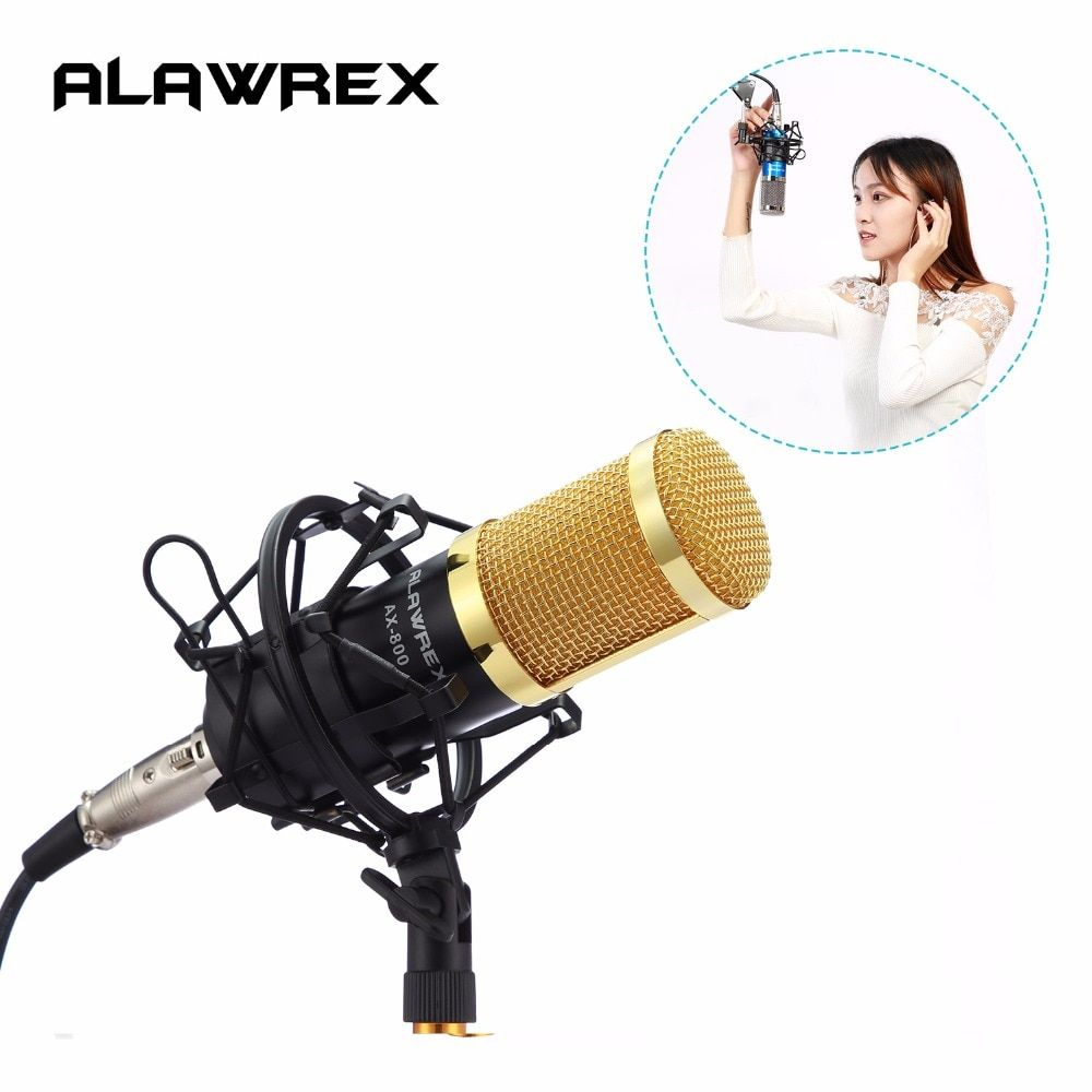 ALAWREX Professional AX-800 Condenser KTV Microphone Cardioid Pro Audio <font><b>Studio</b></font> Vocal Recording Mic Karaoke + Metal Shock Mount