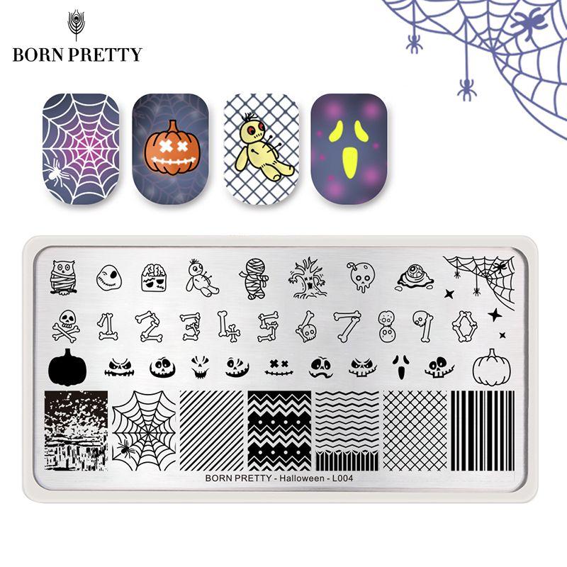 GEBOREN ZIEMLICH Halloween Serie Nagel, Platte Schädel Kürbis Rechteck Bild Vorlage Zombie Ghost Nail art Stempel Schablonen
