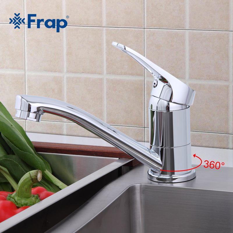 Frap Küchenarmatur Chrom-finish Deck Montiert Einzigen Handgriff Hot Cold Water Wc Möbel F4513-2
