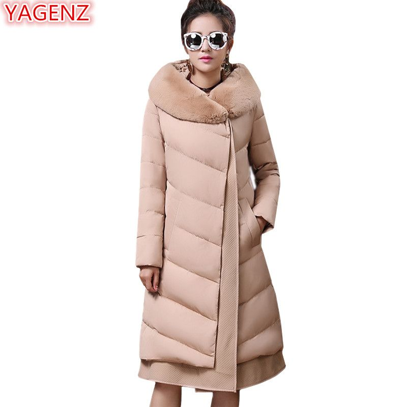 YAGENZ High quality Women's clothing Winter Cotton Jacket Large size Fashion Women Cotton Hooded Coat Long section Keep warm 634