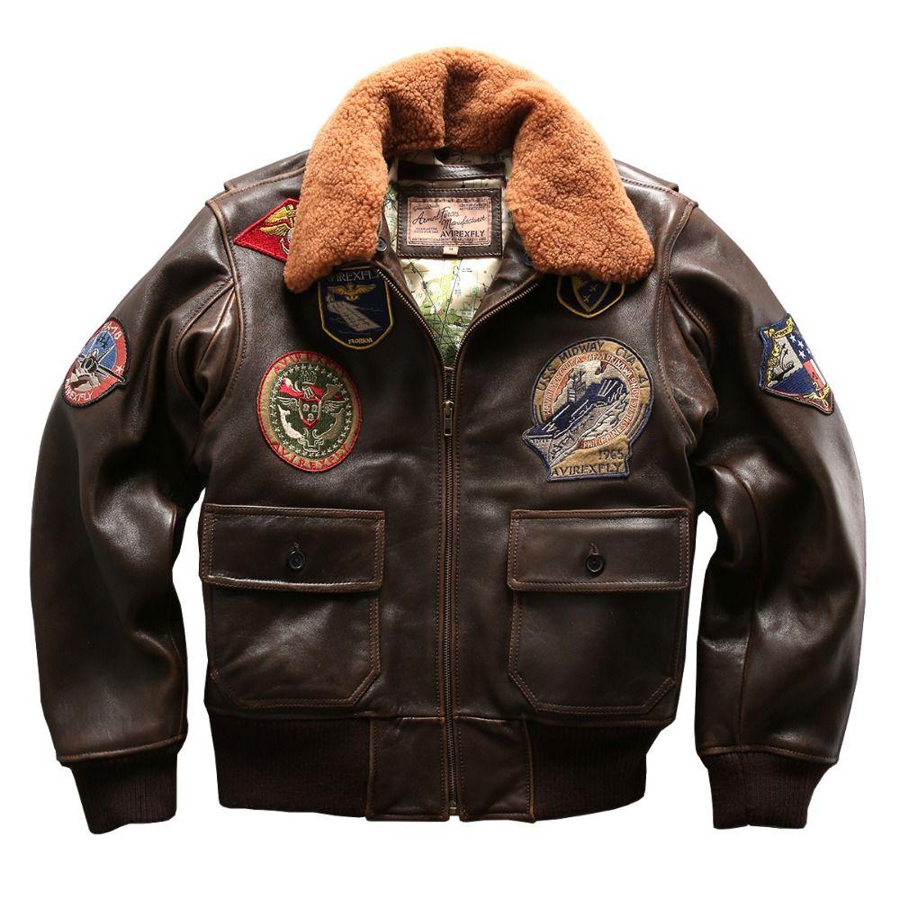 Air force flight G1 pilot warme pelzkragen lederjacke hochwertige echte kuh leder kleidung dickem rinds reiter jacke