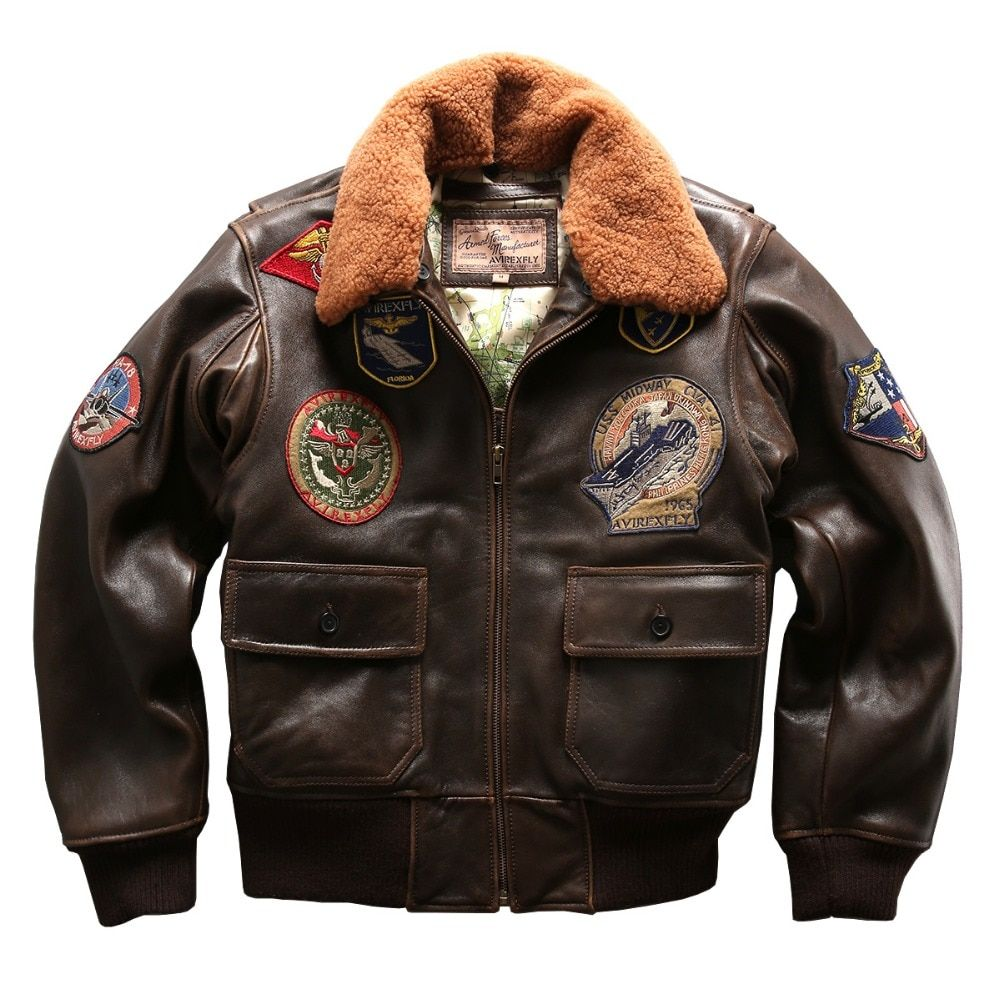 air force flight G1 pilot warm fur collar leather jacket high quality genuine cow leather clothing thick cowhide rider jacket