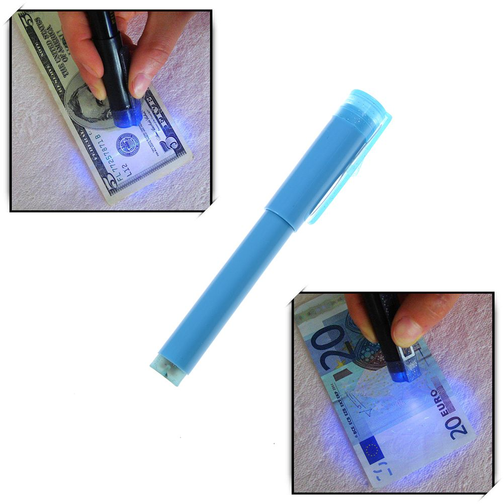 ZLinKJ 2in1 Useful UV Light Banknotes Detector Counterfeit Fake Forged Money Bank Note Tester Marker Pen Checker Detector