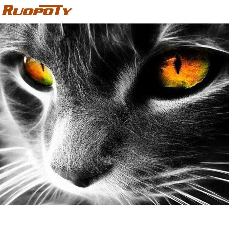 Cadre RUOPOTY chat peinture à la main par numéros animaux acrylique coloriage par numéros peinture sur toile peint à la main peinture à l'huile pour cadeau