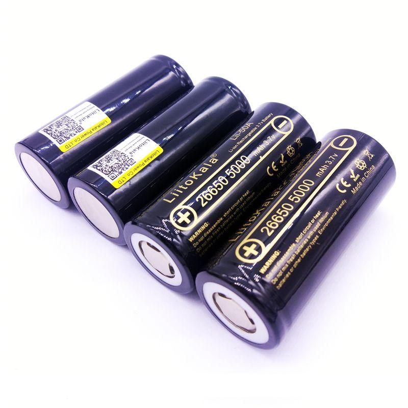 4 STÜCKE LiitoKala 26650-50A 5000 mah 26650 Li-Ion 3,7 v Akku für Taschenlampe 20A