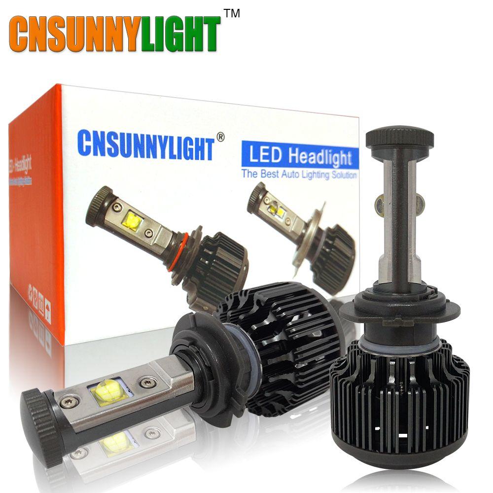 CNSUNNYLIGHT H7 Led H11 9005 9006 Bulbs 7200lm No Error 3000K 4300K 6000K Bright Car Headlight Fog Light Conversion Kit w/ EMC