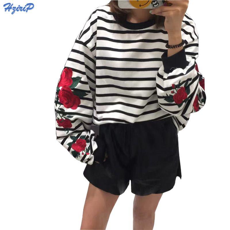 2018 New Autumn Harajuku Hoodies Roses Embroidery Lantern Sleeve Loose Striped Women Sweatshirt Girl Vintage Elegant Casual Tops
