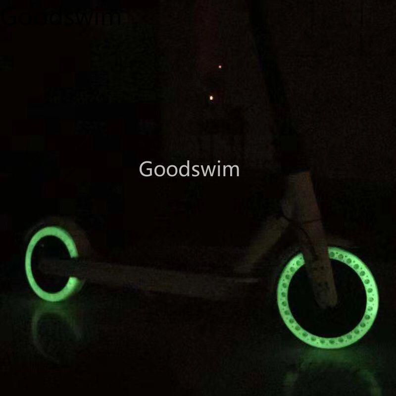 Amortisseur lumineux Xiaomi Mijia M365 Scooter planche à roulettes amortissement pneus en caoutchouc roues pneus fluorescents à trou plein