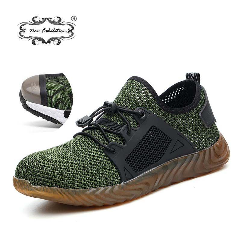 New exhibition 2019 Lightweight fashion Breathable Safety Shoes Men Steel Toe anti-smashing sneaker Work Protective Boots 35-46
