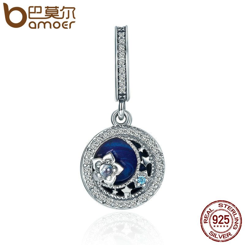BAMOER High Quality 100% 925 Sterling Silver Moonlit Star Blue Enamel Pendant Charm fit Charm Bracelet Jewelry Making SCC396
