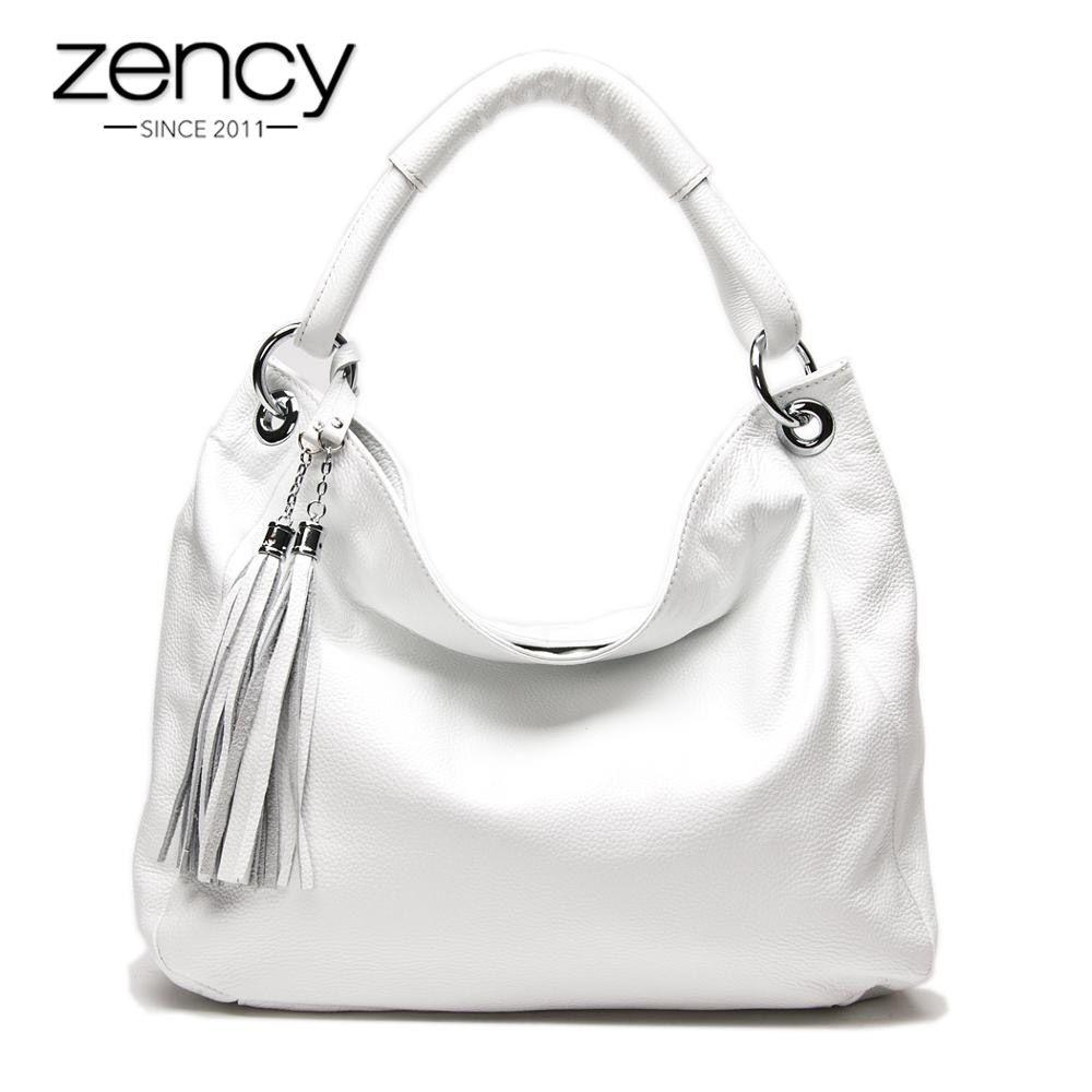 Zency 11 Fashion Colors 100% Soft Genuine Leather Tassel Women's Handbag Ladies Shoulder Bags Messenger Satchel Crossbody