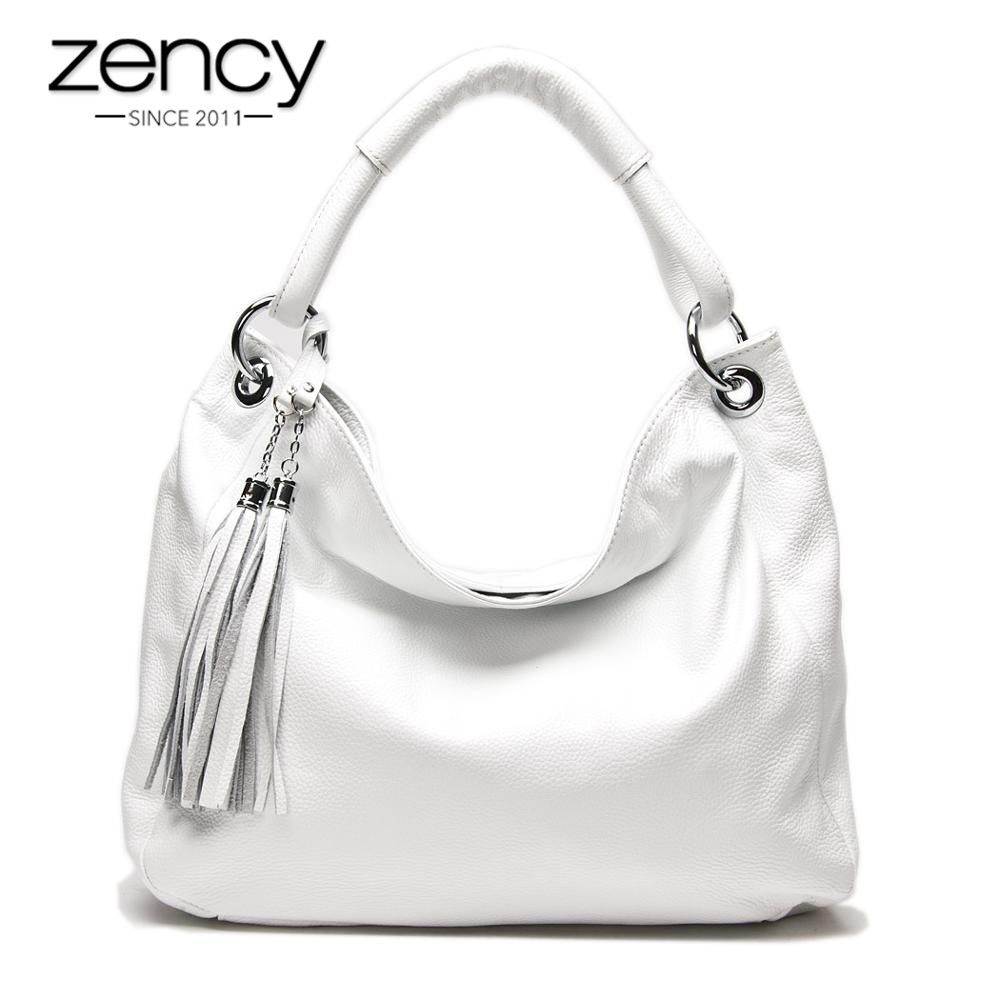 Zency 11 Fashion Colors 100% Soft Genuine Leather Tassel Women's Handbag Ladies Shoulder Bags Messenger Satchel Crossbody