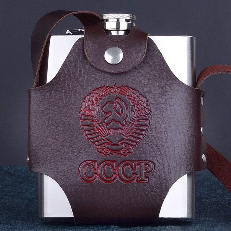 Flacon de hanche en acier inoxydable personnalisé 18 38 oz porte-Whisky bouteille alcool Pot de liqueur conteneur étui en cuir Flagon