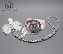 MIYOCAR tous nom fait à la main bling cristal strass princesse Bébé Sucette/Mamelons/Mannequin/cocka/chupeta & sucette clips