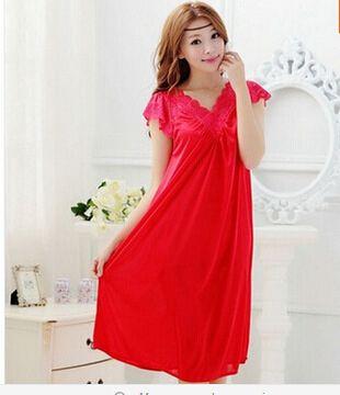 Livraison gratuite femmes rouge dentelle sexy chemise de nuit filles grande taille grande taille vêtements de nuit chemise de nuit robe de nuit jupe Y02-4