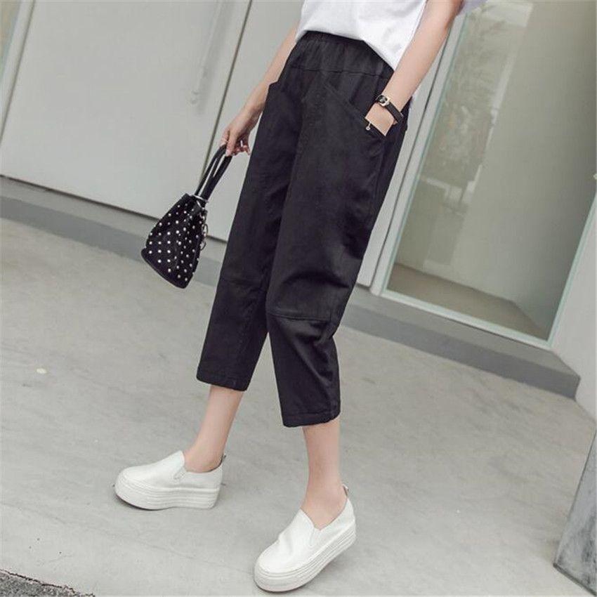 MLCRIYG The new Imitation cotton seven loose Haren female thin elastic waist casual pants