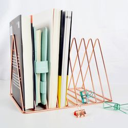 Gold/Rose Gold Electroplated Bookend Desk Organizer Desktop Office Home Bookends Book Holder Black Book Stand