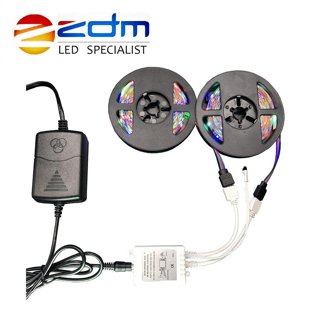 RGB IP20 Flexible LED Strip led strip light 2M 3M 4M 5M 6M 10M 3528 SMD non waterproof led light adapter remote RGB full set