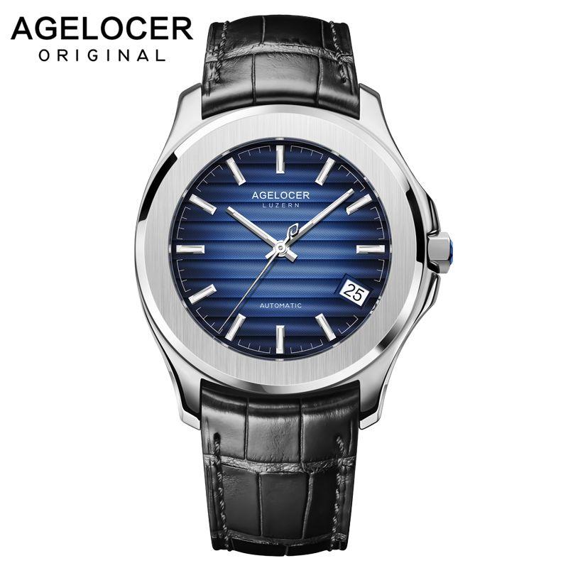 AGELOCER Schweiz Männer Uhr Top Marke Luxus Männlichen Leder Wasserdichte Sport Automatische Mechanische Armbanduhr Männer Uhr relogio