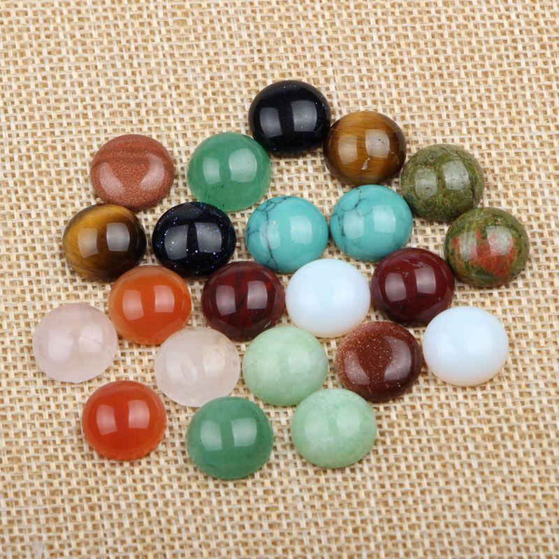 (60 pièces/lot) mélanger les couleurs dôme rond flatback pierre naturelle cabochon 12mm bricolage accessoires pour la fabrication de bijoux