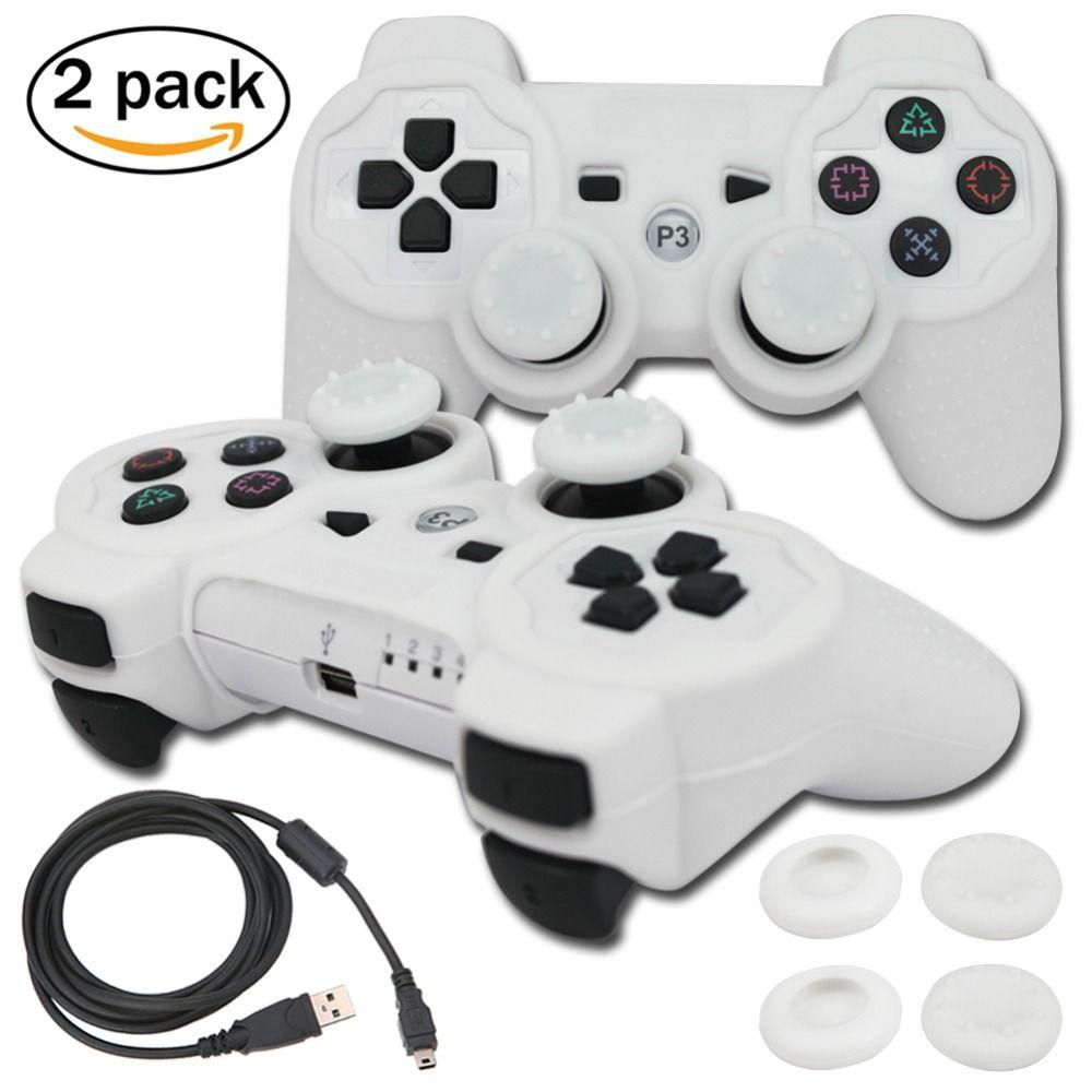 Blueloong 2 pcs Blanc et Blanc Couleur Sans Fil Bluetooth Joystick Gamepad Pour Playstation 3 PS3 Contrôleur + Livraison Gratuite