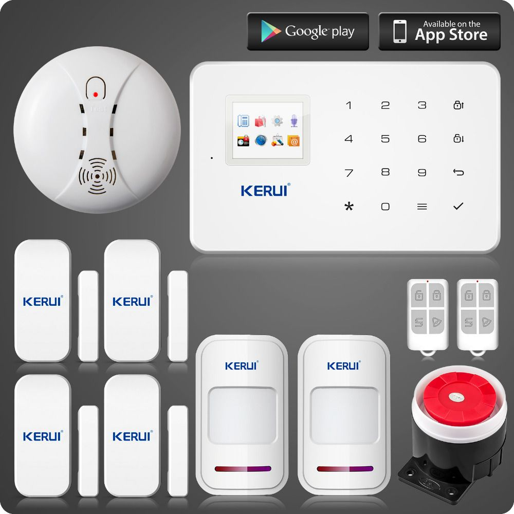 KERUI G18 wireless zones app control GSM alarm system with touch screen TFT color display  home alarm system PIR Motion Senson