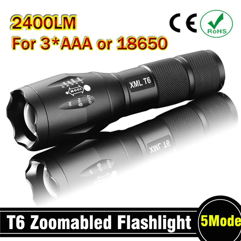 E17 CREE XM-L T6 2400Lumens cree led Torch Zoomable cree LED Flashlight Torch light For 3xAAA or 1x18650 Free shipping