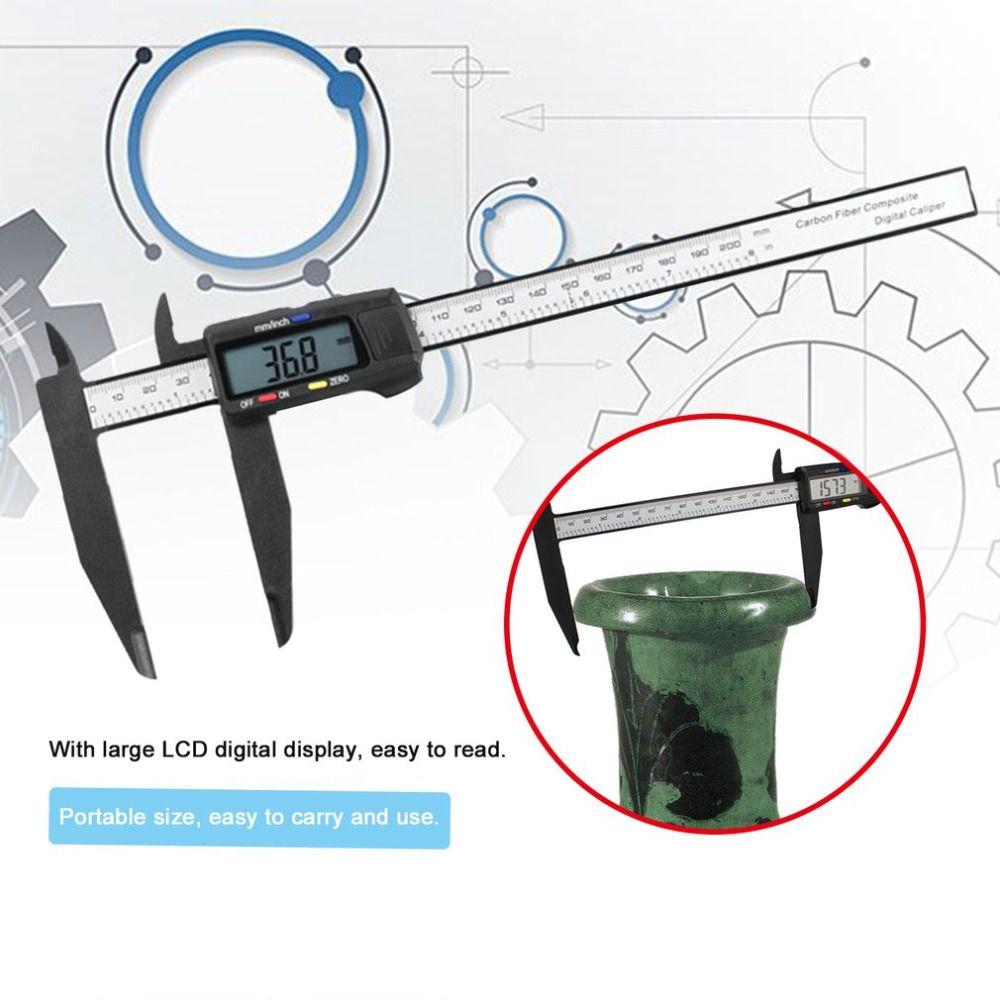 Leichte 200 MM Kohlefaser Kunststoff LCD Digitalanzeige Elektronische Messschieber Noniuslehren-mikrometer Messwerkzeug