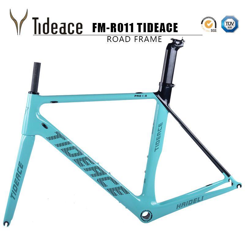 Tideace carbon fiber bicycle frame track bike frame carbon super good quality racing road frameset BSA customize color