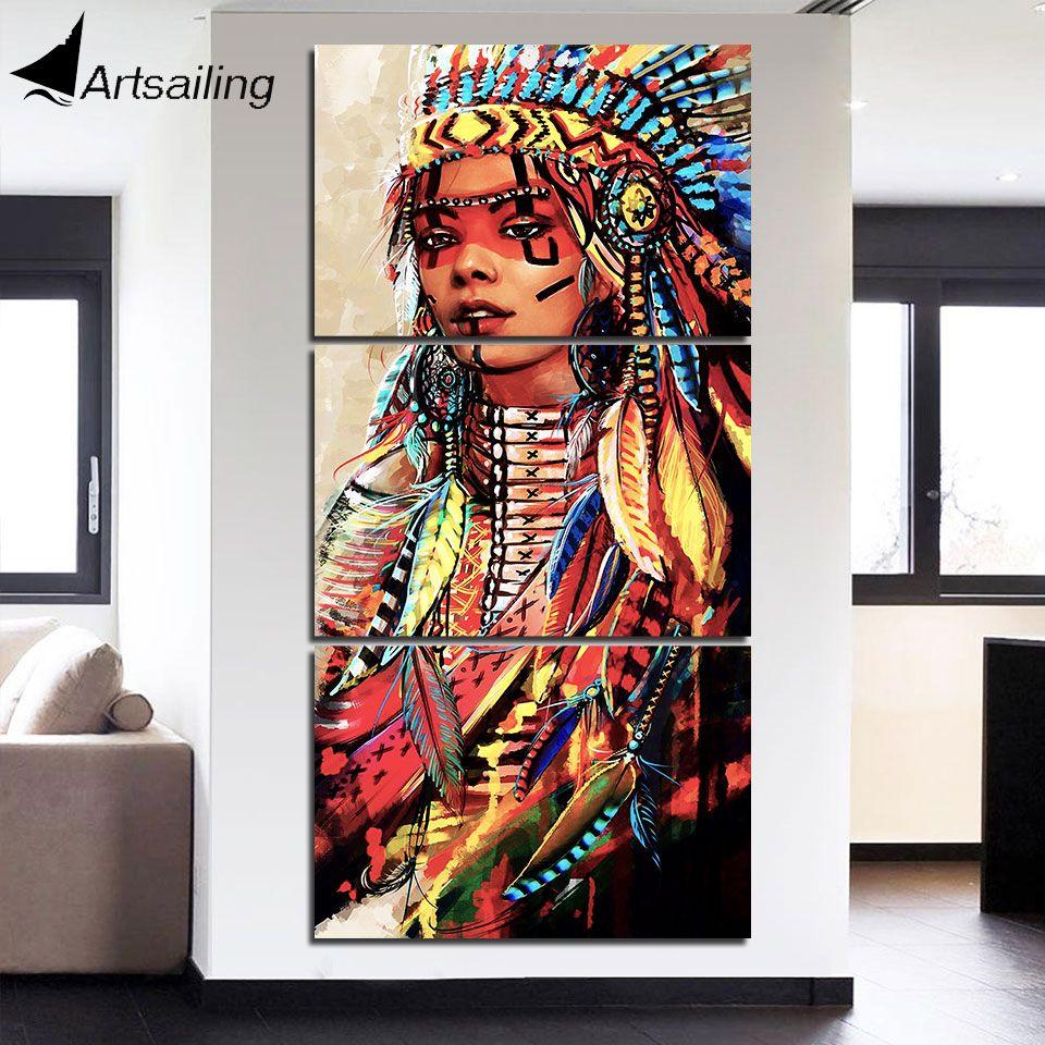 HD с 3 шт. холст Книги по искусству американских индейцев женщина живопись Пернатый стены Книги по искусству для гостиной Бесплатная доставк...