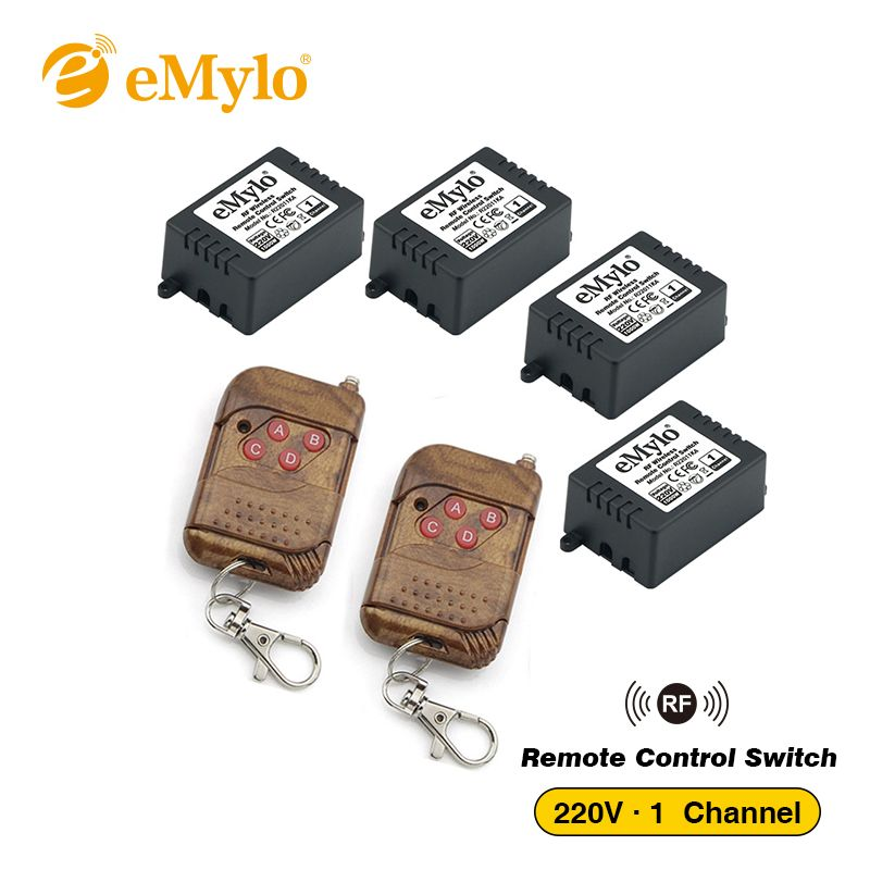 eMylo RF Switch AC 220V 1000W-230V-240V 4-button Transmitter & 4X 1 Channel Relays Wireless Remote Control Light Switch 433Mhz