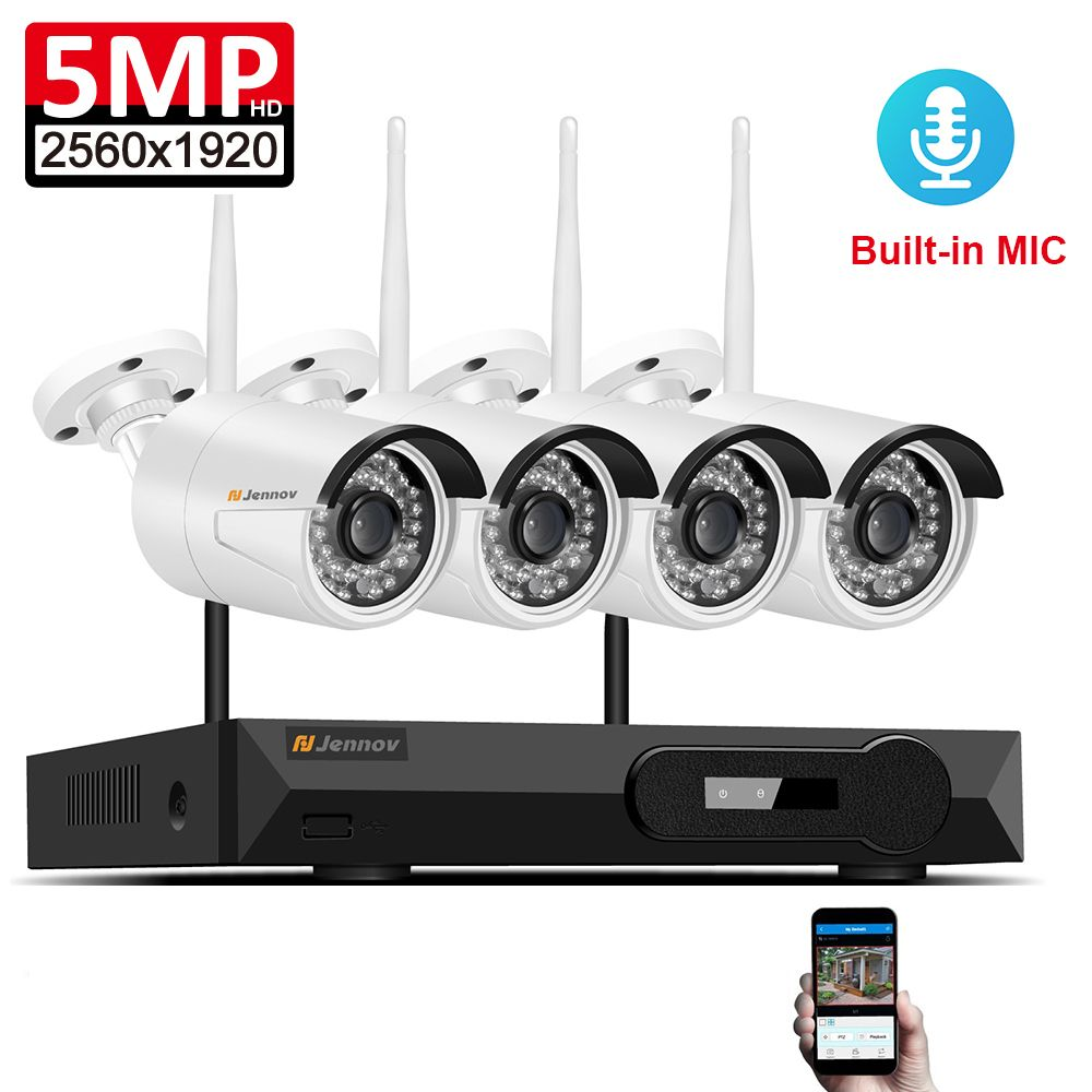 Audio Record 5MP H.265 Full HD Home Wifi Wireless CCTV Camera System NVR Video Surveillance System WI-FI Security Camera System