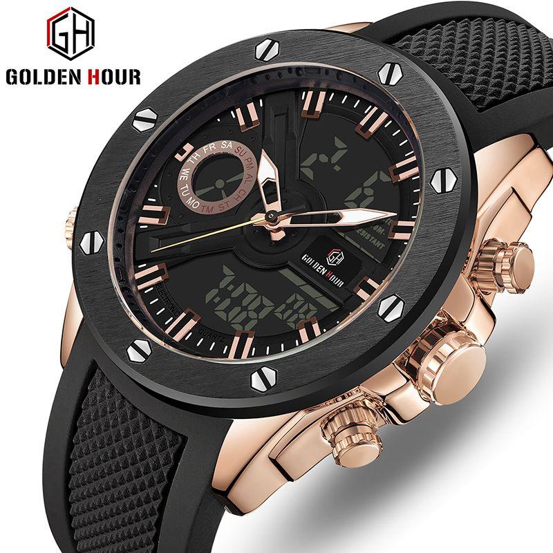 Hommes montre de luxe marque OLDENHOUR mode analogique numérique sport hommes montres étanche Silicone Quartz montre Relogio Masculino