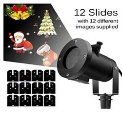 Projector Accessory Waterproof 12 Slides LED Projector Light Snowflake Spotlight Christmas Halloween Decoration US/EU/UK/AU Plug