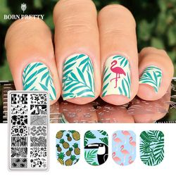Lahir Cantik Musim Panas Flamingo Pola Kuku Stamping Template Musim Panas Daun Buah Gambar Persegi Panjang Nail Art Stamp Piring