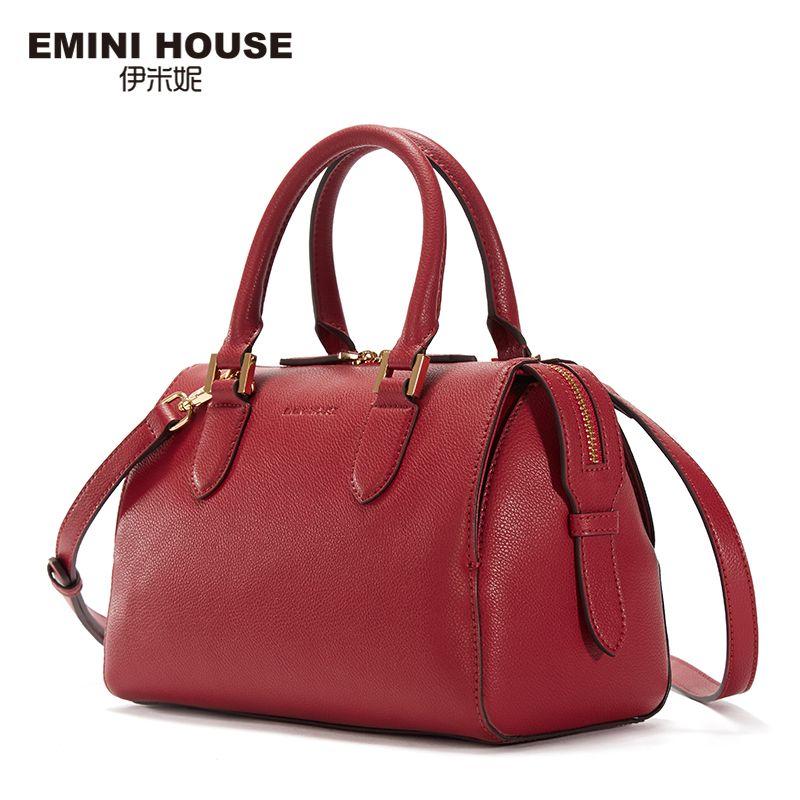 EMINI HOUSE Luxury Handbags Women Bags Designer Ladies Hand Bags Boston Clutch Bag Female Split Leather Women Messenger Bag