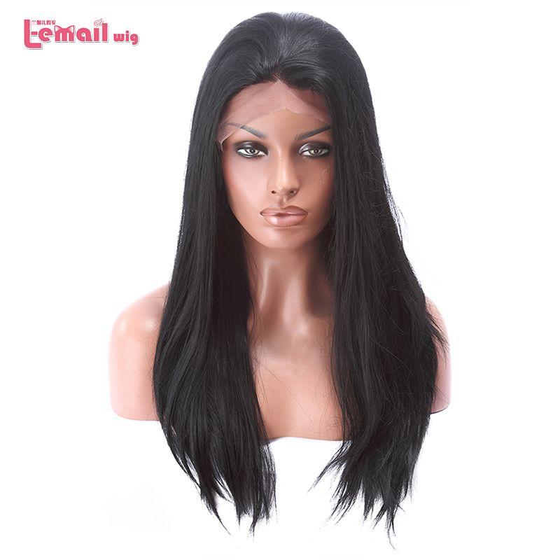 L-mail perruque 70 cm Résistant À La Chaleur Longue Ligne Droite Femmes Perruque Avant de Lacet 28 pouces Noir Blond Brun Foncé synthétique Cheveux