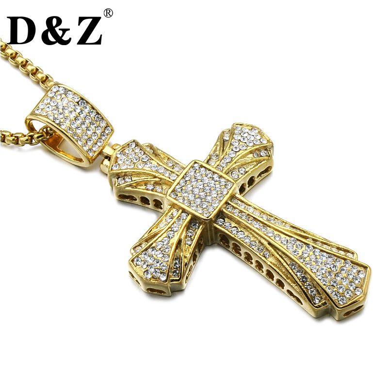 D&Z Hiphop Rhinestone Crystal Cross Pendant & Necklace Gold Color Religious Cross Necklace for Christian Jewelry